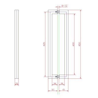 画像3: ステンレス角パイプ型バーハンドル