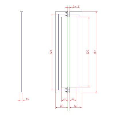画像2: ステンレス角パイプ型バーハンドル(スリムタイプ)