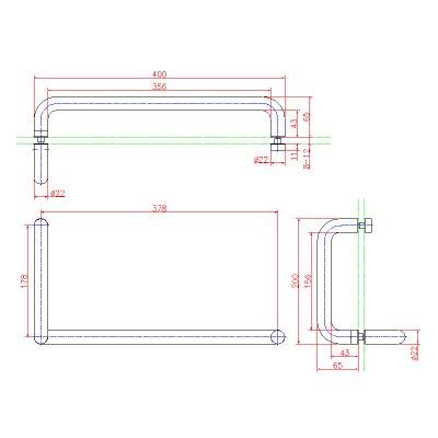 画像2: ステンレスL型(鏡面)バーハンドル
