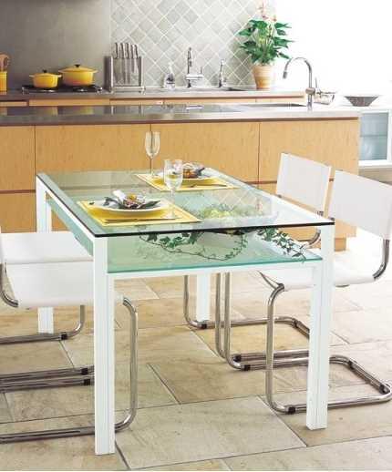 ダイニングテーブル 天板:透明ガラス・棚板:フロストガラス