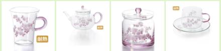 ガラス食器「ピンクローズ」