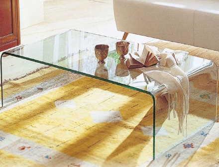 「曲げガラステーブル」