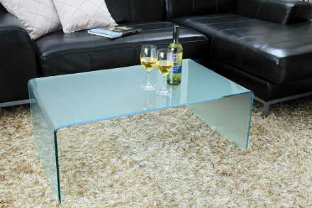 「曲げガラステーブル」サイズオーダーも可能
