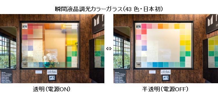 日本唯一の色付き(カラー)調光ガラスバリエーション