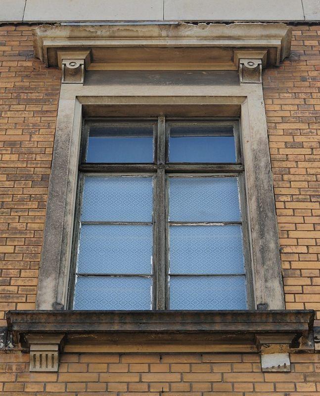 ツヴィッカウ(ドイツ)の歴史的な地域病院の窓