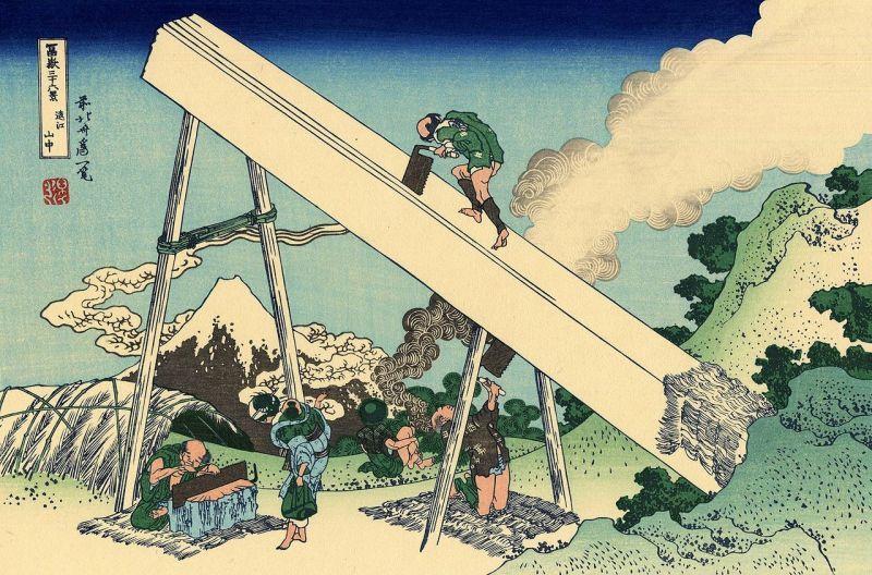 前挽き鋸による製材風景(富嶽三十六景・遠江山中)