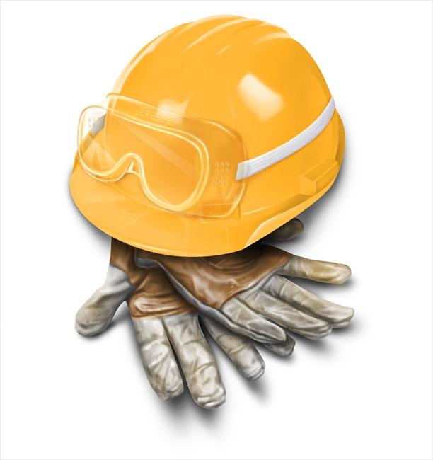職人の手袋、安全ゴーグル、ハードハット