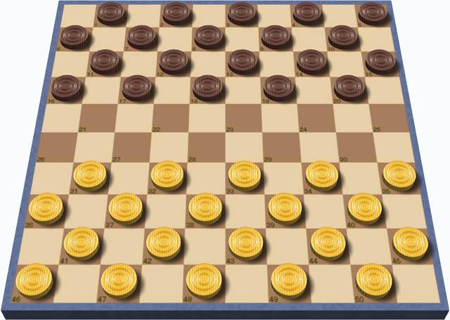 国際チェッカーの10×10の盤と初期配置の駒