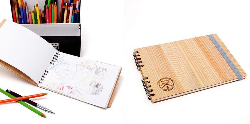 木製カバーで包んだスケッチブック