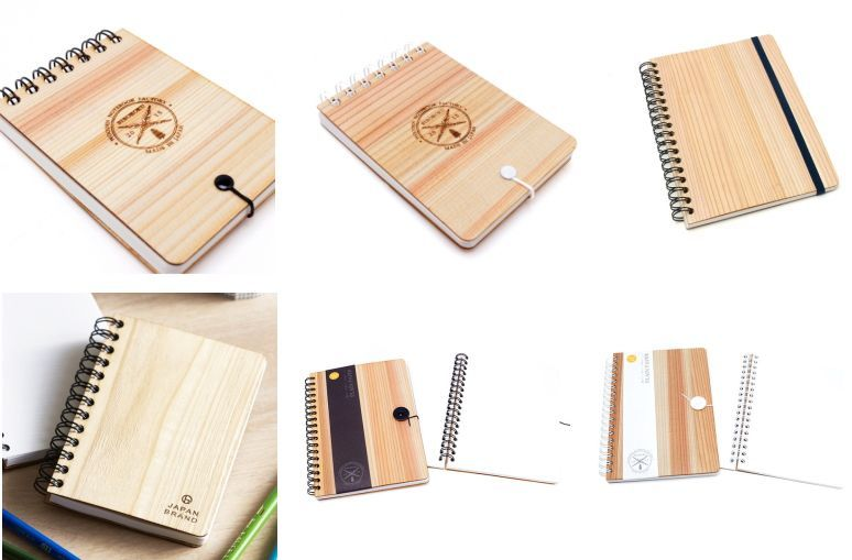 国産杉間伐材を表面に用いたリングノート