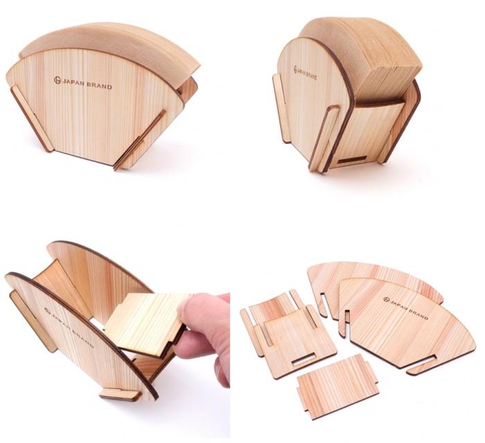 国産杉間伐材を使用したコンパクトな組立て式コーヒーフィルターホルダー