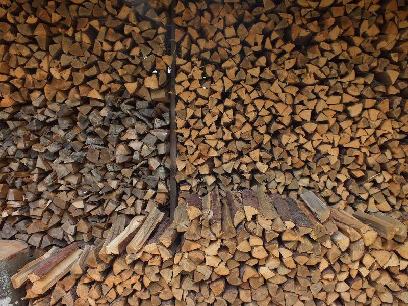 やしろの森公園(兵庫県加東市)に積まれた薪