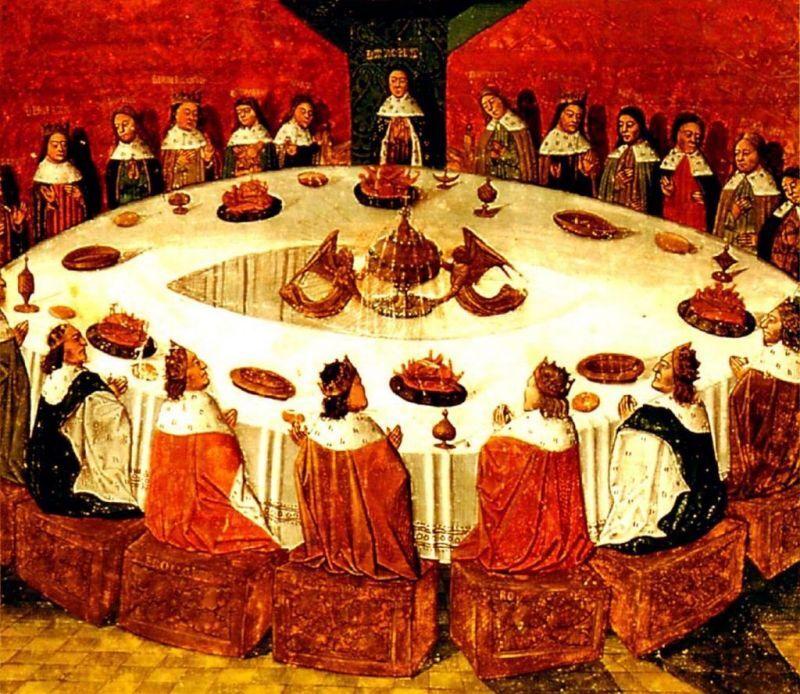アーサー王と円卓の騎士を描いた中世の西洋画