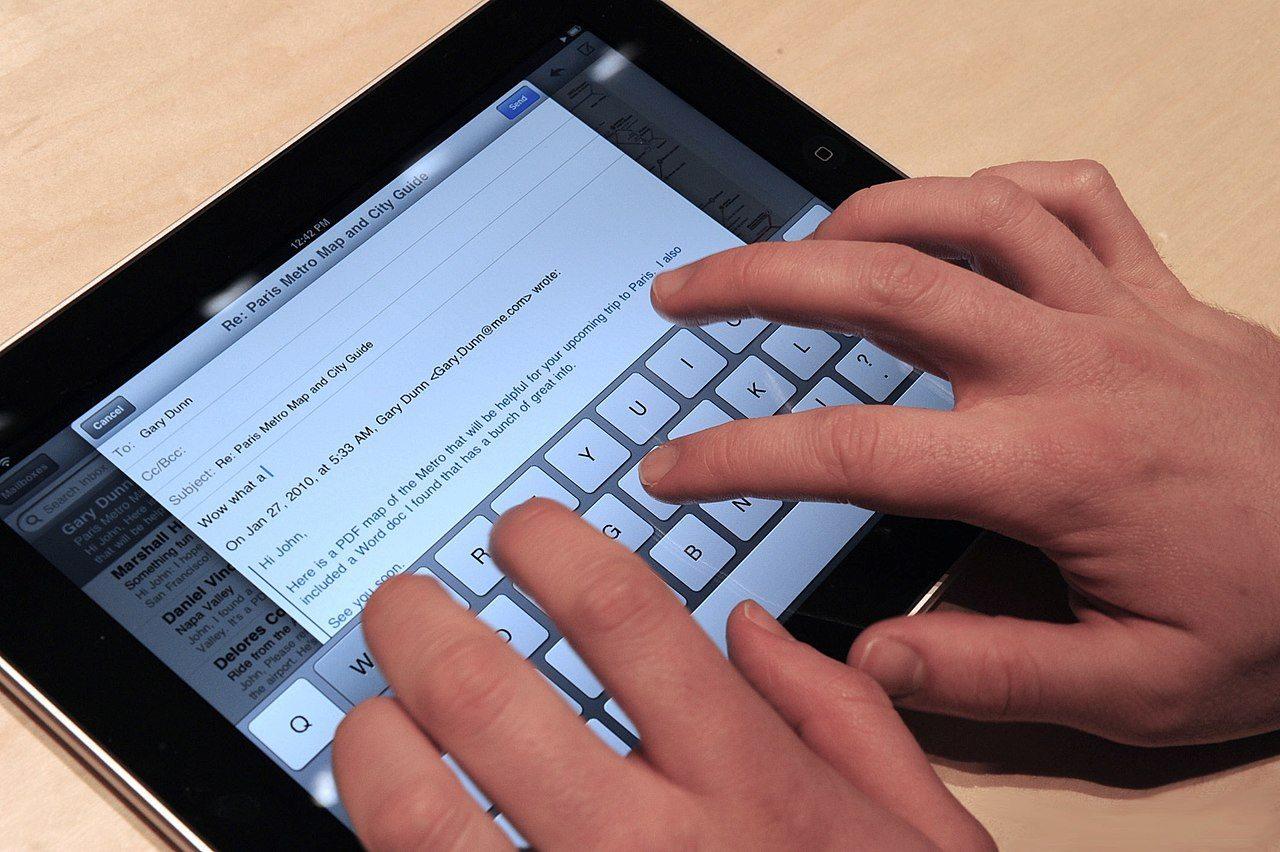 iPadのバーチャルキーボード