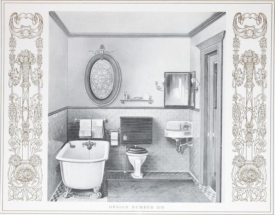 20世紀初頭の浴室の絵