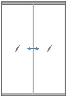 フレーム無しの「ガラス引戸」2枚引違いイメージ