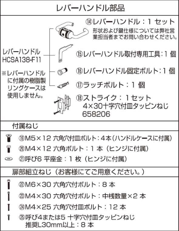 AF-25D説明書レバーハンドル部品