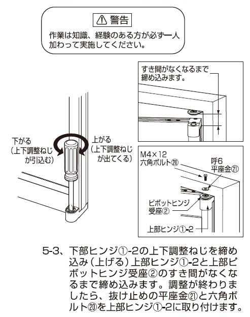 AF-25D説明書扉の吊り込み、調整