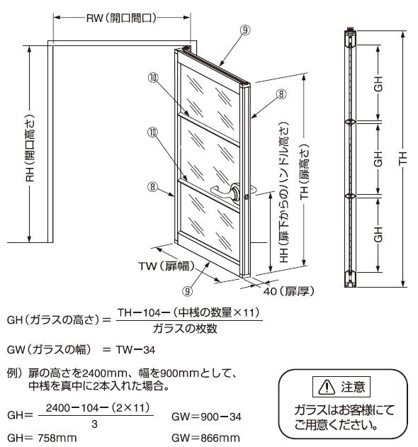 AF-25D説明書中桟2本の仕様.納まり図