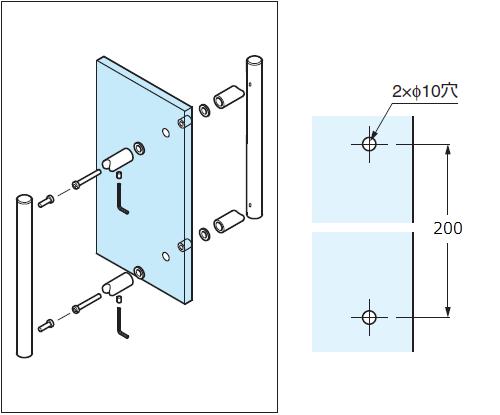 取付け例、ガラス加工図
