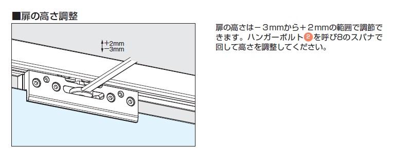 バニオ 40GF扉の高さ調整