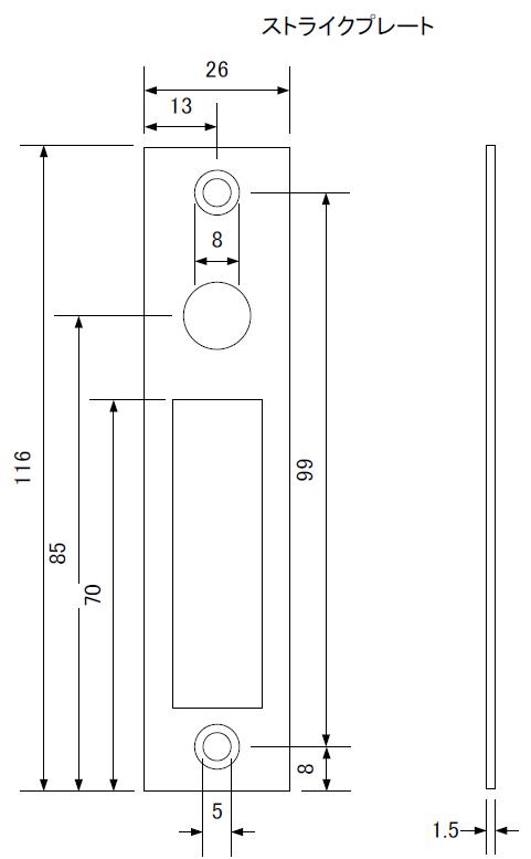 ID-303FE-片開きストライクプレート(埋込用)の寸法図