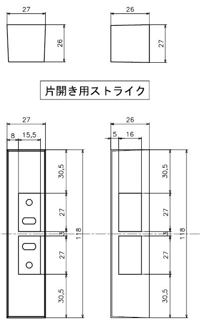 ID-303FE-R片開き用ストライクク