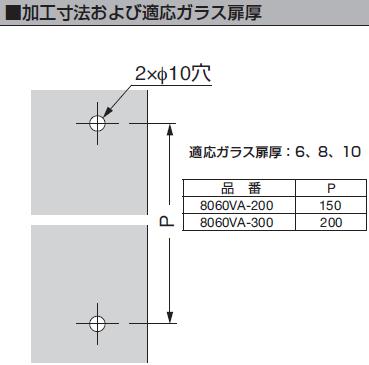 取付説明書8060VA型加工寸法および適応ガラス扉厚