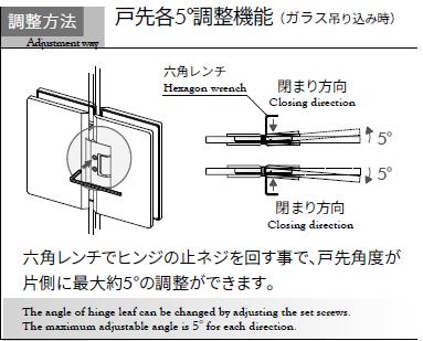 OT-B435 調整方法 戸先各5°調整機能(ガラス吊り込み時)