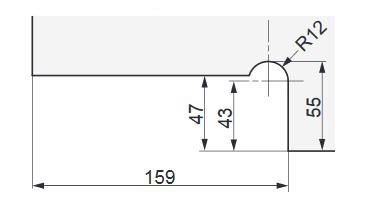 ソフトクロージング機構付下部コーナー金具M101E10型.取付説明.ガラス加工寸法図