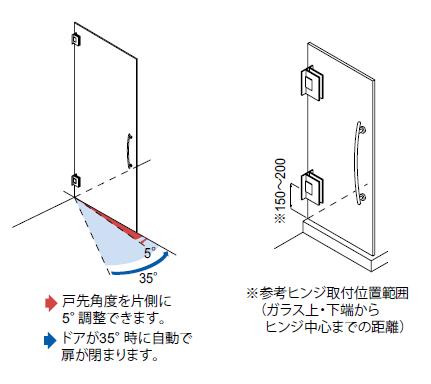 OT-B456-SUSドアが35°時に自動で閉まります