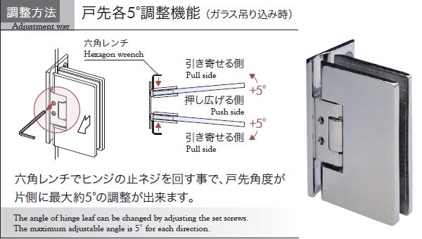 ガラス吊り込み時、六角レンチで各5°の戸先調整